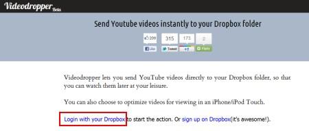 videodropper-upload-youtube-video-clip-files-to-Dropbox-account-2