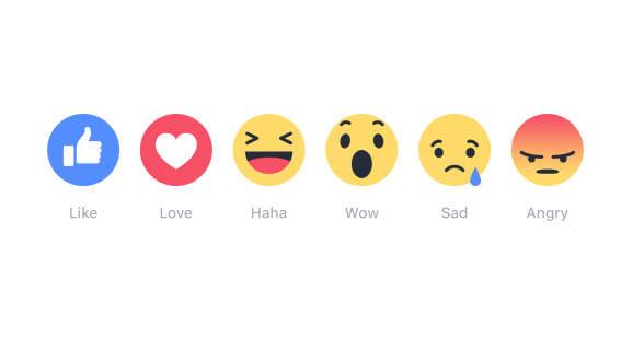 ปุ่ม reaction ใน facebook