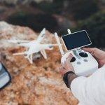 drone pilot photographer prepares launch flight