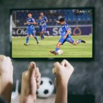 Selective,Focus,Happy,Friends,Friends,Watching,Sport,On,Tv.