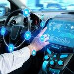 Driverless car interior with futuristic dashboard for autonomous control system